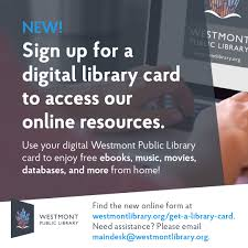 We did not find results for: Westmont Public Library On Twitter Do You Know A Westmont Resident Who Needs A Library Card Let Them Know They Can Sign Up For A New Digital Library Card To Access Our