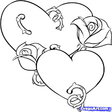 heart and roses hearts and roses coloring pages az clip art library on pencil drawing of