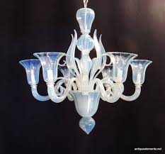 a wonderful vintage mid century modern opalescent venetian murano glass chandelier with 6 lights beautiful