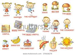 Degrees Comparison Adjectives Pictures Colorful Cartoon