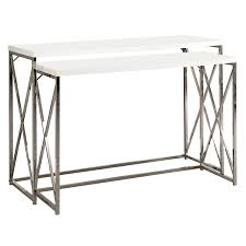 accent table chrome metal dark taupe with a drawer by