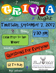 Trivia Night Flyer Buck Hill Brewery And Restaurant