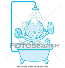 blue version of a happy cartoon baby kid having bath in a bathtub holding a shampoo bottle and a scrubber and having a rubber duck toy