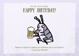 Funny Birthday Card Printables Brown Purple Cockroach Funny Birthday Card Templates By Canva