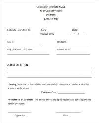 5 job estimate templates free word excel pdf doents free premium templates template template pdf and sample resume