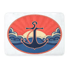anchor bathroom rug east urban home navy bath anchor bathroom rug