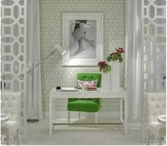 feminine home office. wonderful office green accent with motifs wallpaper for feminine home office white desk  and chair  to