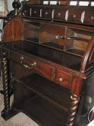 vtg national mt airy roll top lady s secretary desk carved spindle wood w light