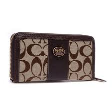 Coach Zippy In Signature Large Coffee Wallets BLV