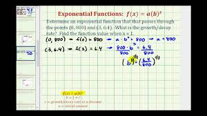 ex find an exponential decay function given two points initial value given
