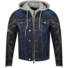 leather sleeve blue denim hooded jacket