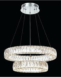 crystal pendant chandelier chrome double ring led light necklace
