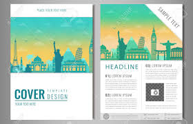 Travel Brochure Cover Design Travel Brochure Design With Famous Landmarks And World Map Template