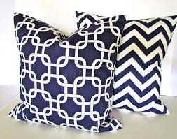 pc decorative throw pillow for sofa navy blue and white color