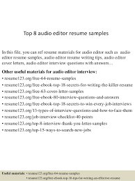 Top 8 Audio Editor Resume Samples