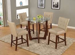 acme 77815 67055 5 pc baldwin walnut finish wood 45 round glass top counter