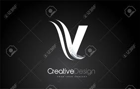 V Letter Design V Letter Design Brush Paint Stroke Letter Logo With Black Background