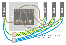 wiring for a single loft or garage light connecting three lights and a supply cable at a light switch