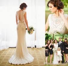 2017 jenny packham wedding dresses crepe sheath bridal gowns with