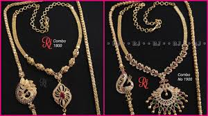 Combo Offer 1 Gram Gold Thali Chains Necklace Earrings With Price