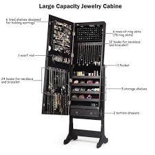 costway lockable mirrored jewelry