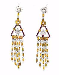 chandelier earrings w yellow sapphire ruby diamond 18k white gold hm1666ab