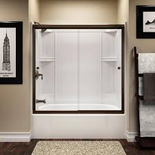 sterling finesse 59 5 8 in x 55 1 2 in semi frameless sliding shower door in deep bronze with handle 5427 59dr g05 the home depot