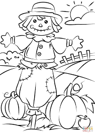 Small Picture Autumn Scene With Scarecrow Coloring Page At Free Printable