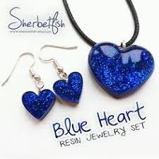 Turquoise heart earrings, <b>resin</b> jewellery, <b>resin</b> drop earrings ...