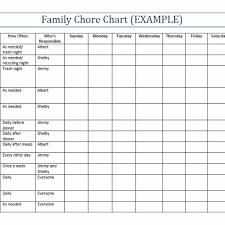 Printable Family Chore Chart Template Zaxa Tk