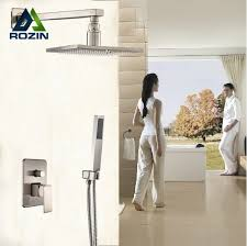 12 inch shower head new aliexpress kup brushed nickel wall mount 12 square rain shower