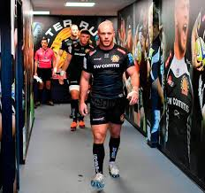 jack yeandle of exeter chiefs leads out his team for the premiership game against the worcester