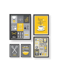 yellow and grey kitchen wall art