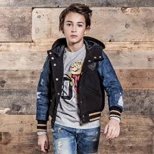 sel kids uni padded varsity jacket with denim sleeves