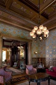 The Gentlemen's Parlor of the McDonald Mansion, Oakland CA, built I adore  the wallpaper, and the molding and design of the ceiling are fabulous.
