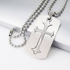 silver army military dog tag cross pendant 24 61cm mens ball chain necklace 1 of 5only 3 available