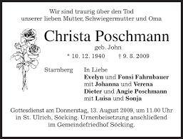 Maybe you would like to learn more about one of these? Traueranzeigen Von Christa Poschmann Trauer Merkur De