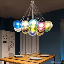 modern colorful pendant light glass ball lamp chandelier of sphere modern color bubble led crystal for home hanging kitchen mini drum