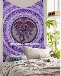 small purple pink grey elephant face circle wall tapestry royalfurnish com