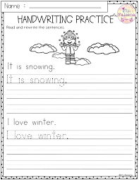 Winter Handwriting Worksheet Free Printable Worksheets For First Grade