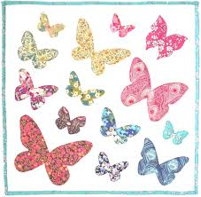 Butterfly Pattern Gorgeous PATTERN Butterflies Flutter Raw Edge Applique Quilt Block Or