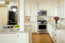 beautiful white kitchen design white granite countertops stainless steel gas stove