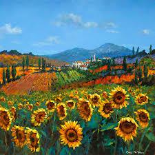 italian landscape painting tuscan sunflowers by chris mc morrow