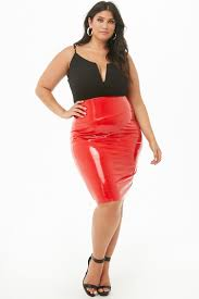 plus size faux patent leather skirt