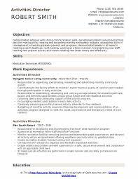Director Sample Resume Activities Director Resume Samples Qwikresume