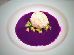 fine dining summer menu ideas. red cabbage gazpacho with mustard ice cream - fine dining recipes | food blog restaurant summer menu ideas e