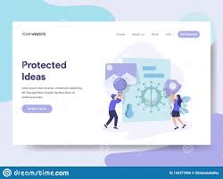 Flat Website Design Ideas Landing Page Template Of Protected Ideas Illustration