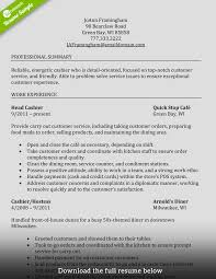 Resume Templates Cashier Sample Breathtaking Position Objective Food