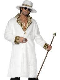 white faux fur pimp costume