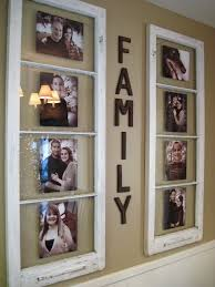 use old wooden window as photo frames to display family photos